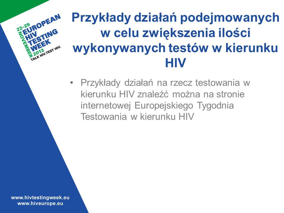 5656 Przykłady działań podejmowanych w celu zwiększenia ilości wykonywanych testów w kierunku HIV.