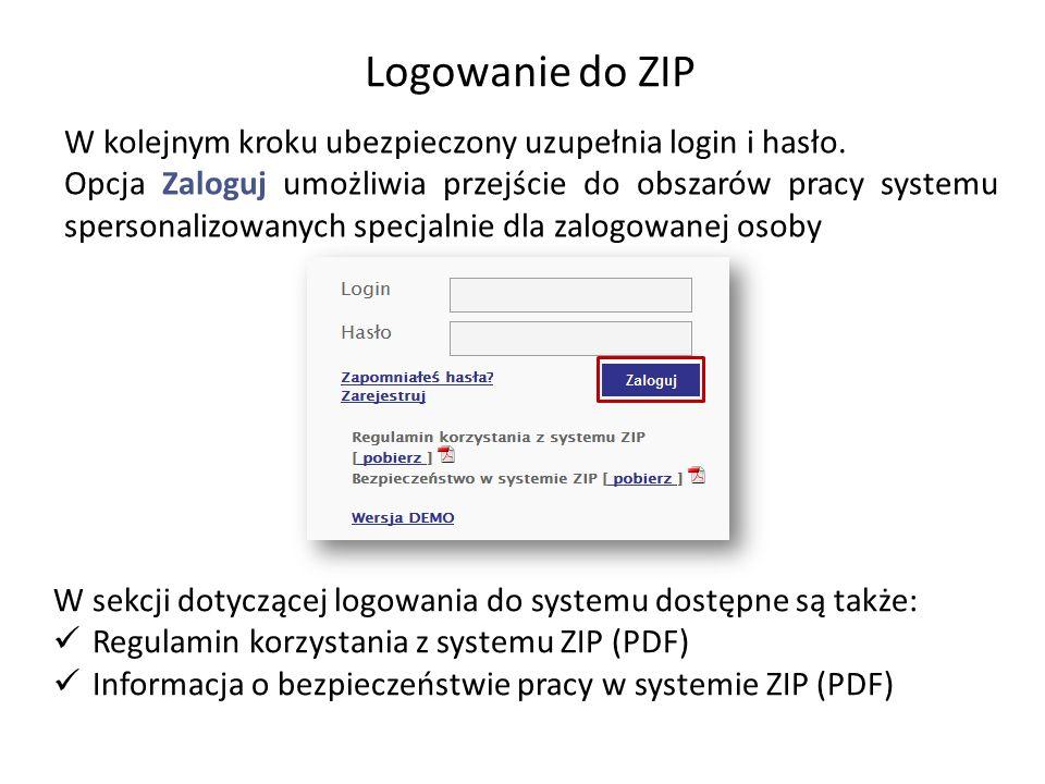 Logowanie do ZIPW kolejnym kroku ubezpieczony uzupełnia login i hasło.