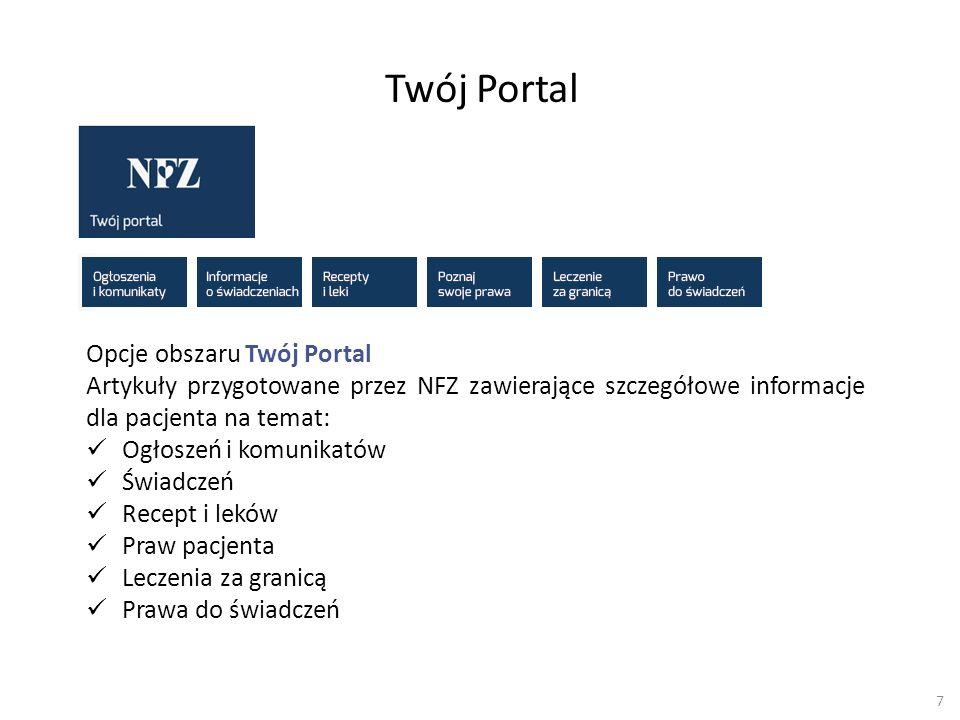 Twój Portal Opcje obszaru Twój Portal