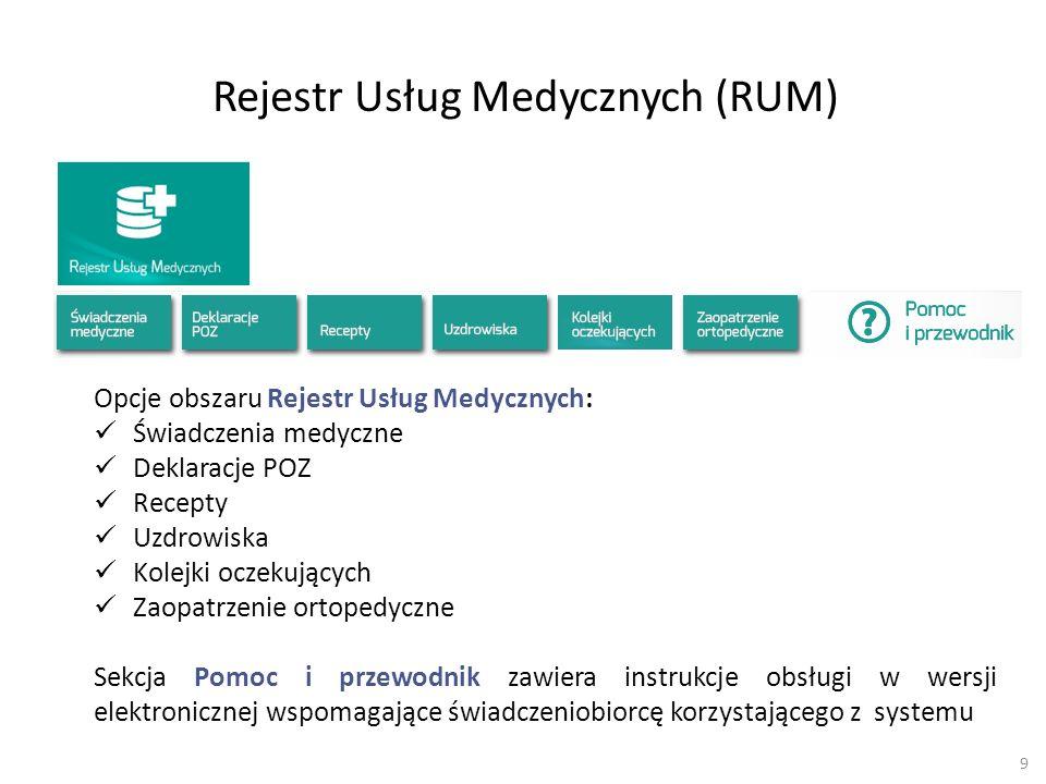 Rejestr Usług Medycznych (RUM)