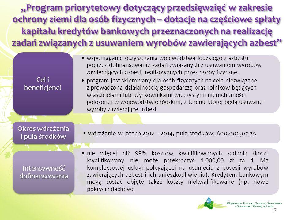"""""""Program priorytetowy dotyczący przedsięwzięć w zakresie ochrony ziemi dla osób fizycznych – dotacje na częściowe spłaty kapitału kredytów bankowych przeznaczonych na realizację zadań związanych z usuwaniem wyrobów zawierających azbest"""