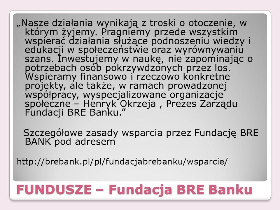 FUNDUSZE – Fundacja BRE Banku