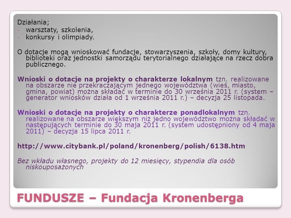 FUNDUSZE – Fundacja Kronenberga