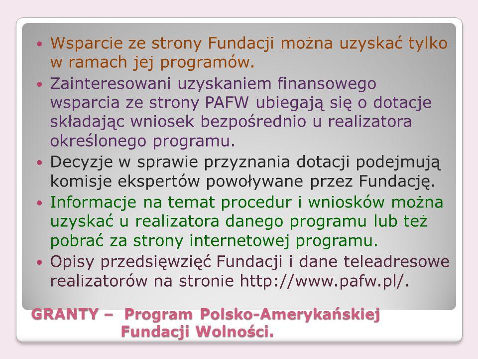 GRANTY – Program Polsko-Amerykańskiej Fundacji Wolności.