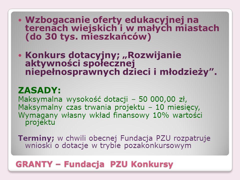 GRANTY – Fundacja PZU Konkursy