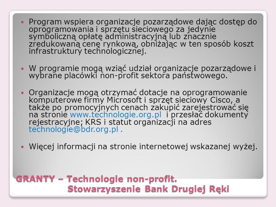 GRANTY – Technologie non-profit. Stowarzyszenie Bank Drugiej Ręki
