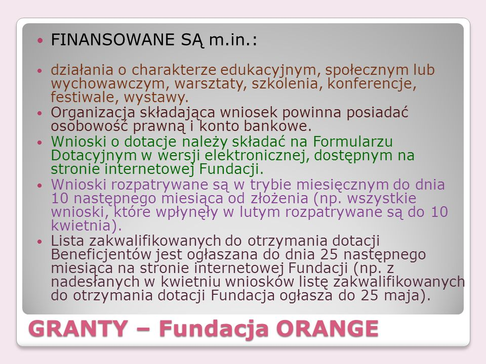 GRANTY – Fundacja ORANGE