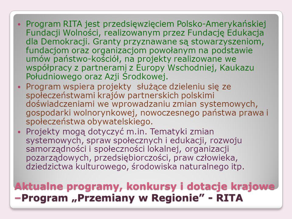 Program RITA jest przedsięwzięciem Polsko-Amerykańskiej Fundacji Wolności, realizowanym przez Fundację Edukacja dla Demokracji. Granty przyznawane są stowarzyszeniom, fundacjom oraz organizacjom powołanym na podstawie umów państwo-kościół, na projekty realizowane we współpracy z partnerami z Europy Wschodniej, Kaukazu Południowego oraz Azji Środkowej.