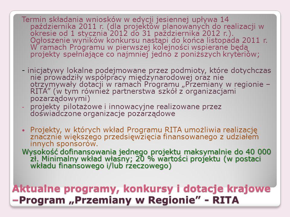 Termin składania wniosków w edycji jesiennej upływa 14 października 2011 r. (dla projektów planowanych do realizacji w okresie od 1 stycznia 2012 do 31 października 2012 r.). Ogłoszenie wyników konkursu nastąpi do końca listopada 2011 r. W ramach Programu w pierwszej kolejności wspierane będą projekty spełniające co najmniej jedno z poniższych kryteriów;