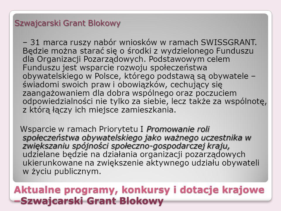 Szwajcarski Grant Blokowy – 31 marca ruszy nabór wniosków w ramach SWISSGRANT. Będzie można starać się o środki z wydzielonego Funduszu dla Organizacji Pozarządowych. Podstawowym celem Funduszu jest wsparcie rozwoju społeczeństwa obywatelskiego w Polsce, którego podstawą są obywatele – świadomi swoich praw i obowiązków, cechujący się zaangażowaniem dla dobra wspólnego oraz poczuciem odpowiedzialności nie tylko za siebie, lecz także za wspólnotę, z którą łączy ich miejsce zamieszkania. Wsparcie w ramach Priorytetu I Promowanie roli społeczeństwa obywatelskiego jako ważnego uczestnika w zwiększaniu spójności społeczno-gospodarczej kraju, udzielane będzie na działania organizacji pozarządowych ukierunkowane na zwiększenie aktywnego udziału obywateli w życiu publicznym.