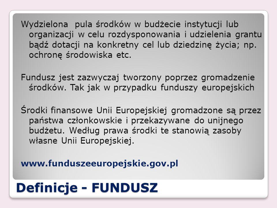 Wydzielona pula środków w budżecie instytucji lub organizacji w celu rozdysponowania i udzielenia grantu bądź dotacji na konkretny cel lub dziedzinę życia; np. ochronę środowiska etc. Fundusz jest zazwyczaj tworzony poprzez gromadzenie środków. Tak jak w przypadku funduszy europejskich Środki finansowe Unii Europejskiej gromadzone są przez państwa członkowskie i przekazywane do unijnego budżetu. Według prawa środki te stanowią zasoby własne Unii Europejskiej. www.funduszeeuropejskie.gov.pl