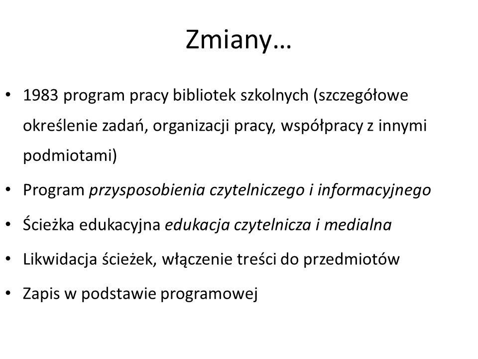 Zmiany… 1983 program pracy bibliotek szkolnych (szczegółowe określenie zadań, organizacji pracy, współpracy z innymi podmiotami)