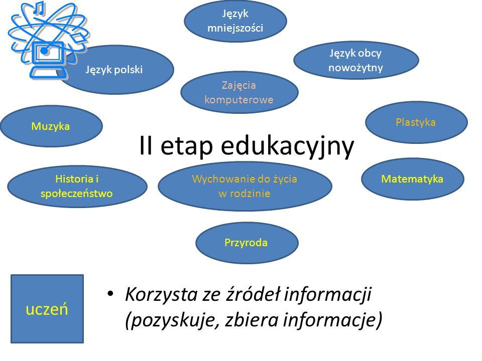 Język mniejszości Język obcy nowożytny. Język polski. Zajęcia komputerowe. Plastyka. Muzyka. II etap edukacyjny.