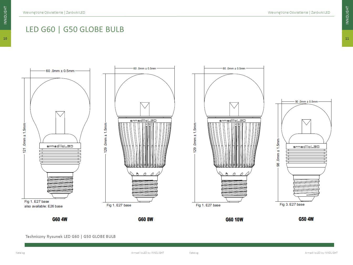 LED G60 | G50 GLOBE BULB Techniczny Rysunek LED G60 | G50 GLOBE BULB