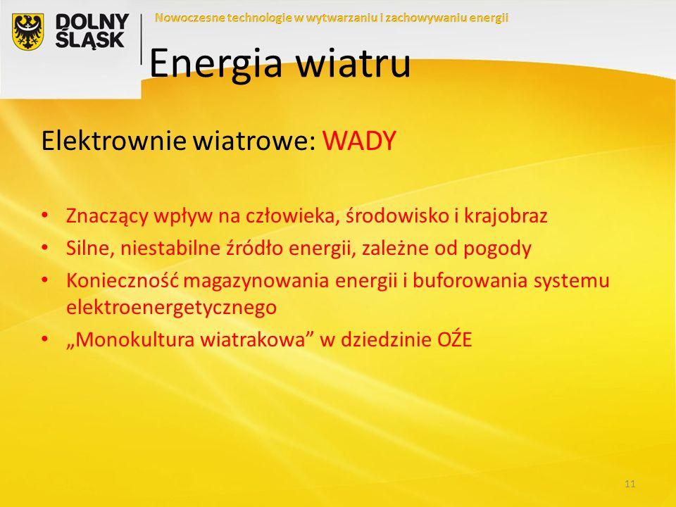 Energia wiatru Elektrownie wiatrowe: WADY