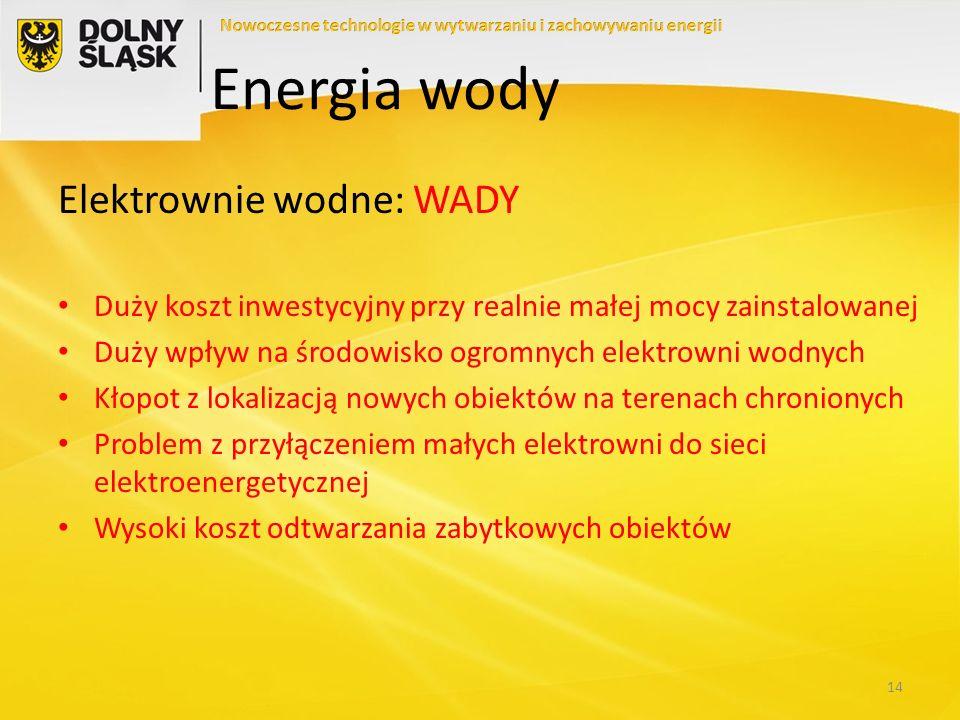 Energia wody Elektrownie wodne: WADY