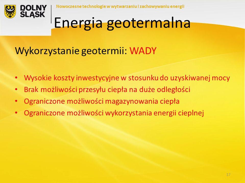 Energia geotermalna Wykorzystanie geotermii: WADY