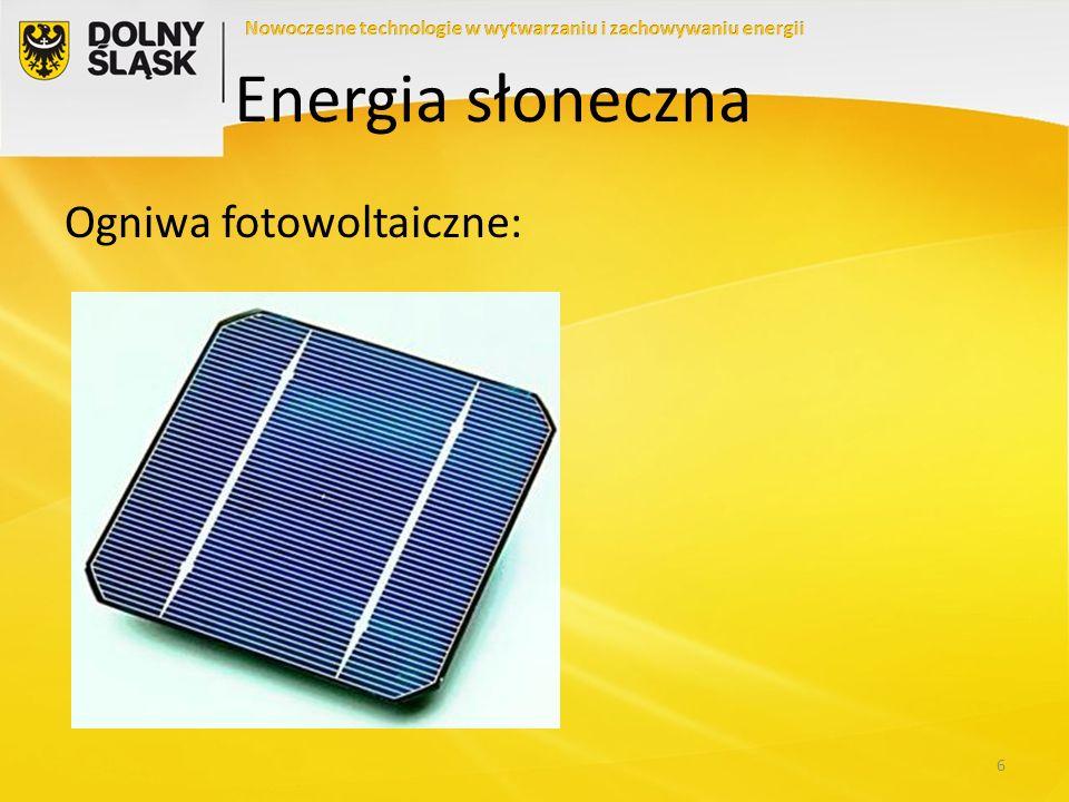 Energia słoneczna Ogniwa fotowoltaiczne:
