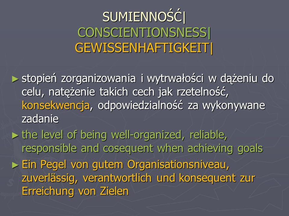 SUMIENNOŚĆ| CONSCIENTIONSNESS| GEWISSENHAFTIGKEIT|