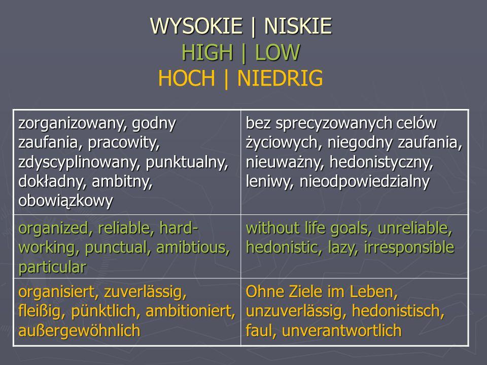WYSOKIE | NISKIE HIGH | LOW HOCH | NIEDRIG