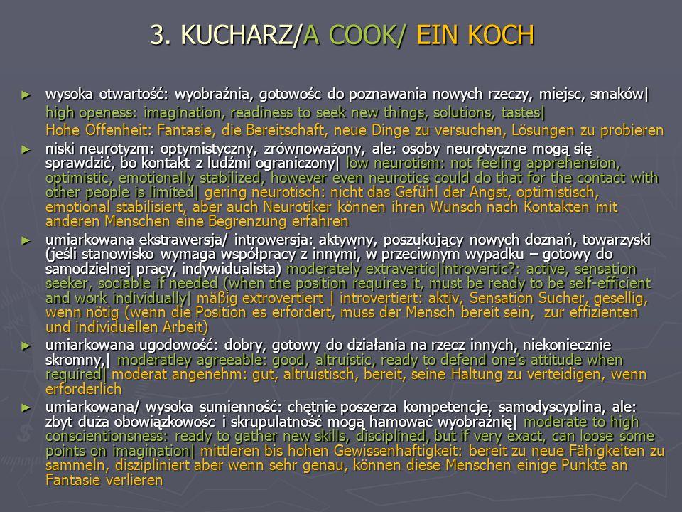 3. KUCHARZ/A COOK/ EIN KOCH