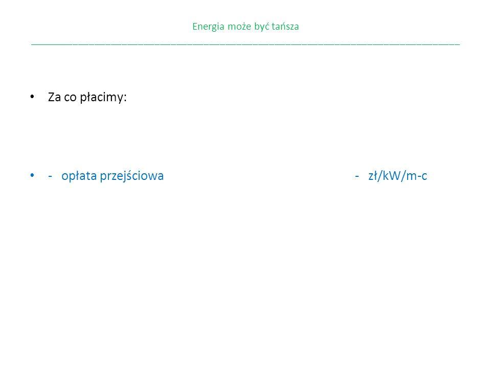 - opłata przejściowa - zł/kW/m-c