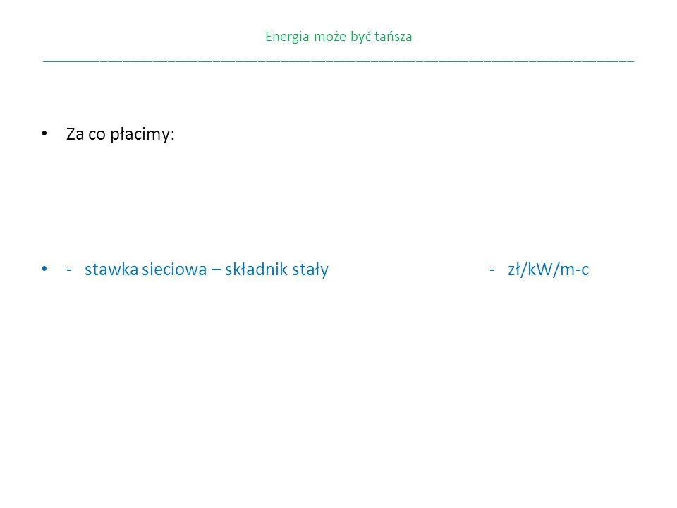 - stawka sieciowa – składnik stały - zł/kW/m-c