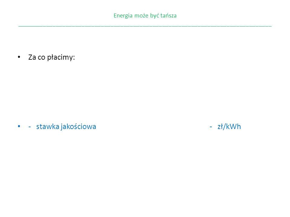 - stawka jakościowa - zł/kWh