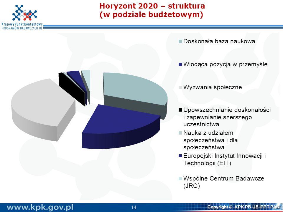 Horyzont 2020 – struktura (w podziale budżetowym)