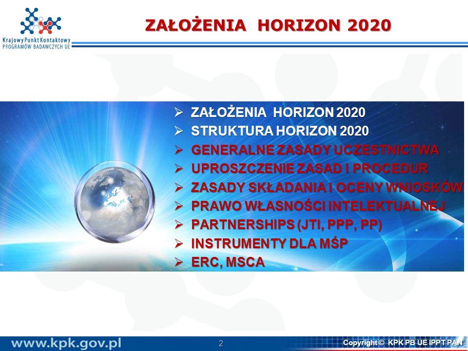 ZAŁOŻENIA HORIZON 2020 ZAŁOŻENIA HORIZON 2020 STRUKTURA HORIZON 2020
