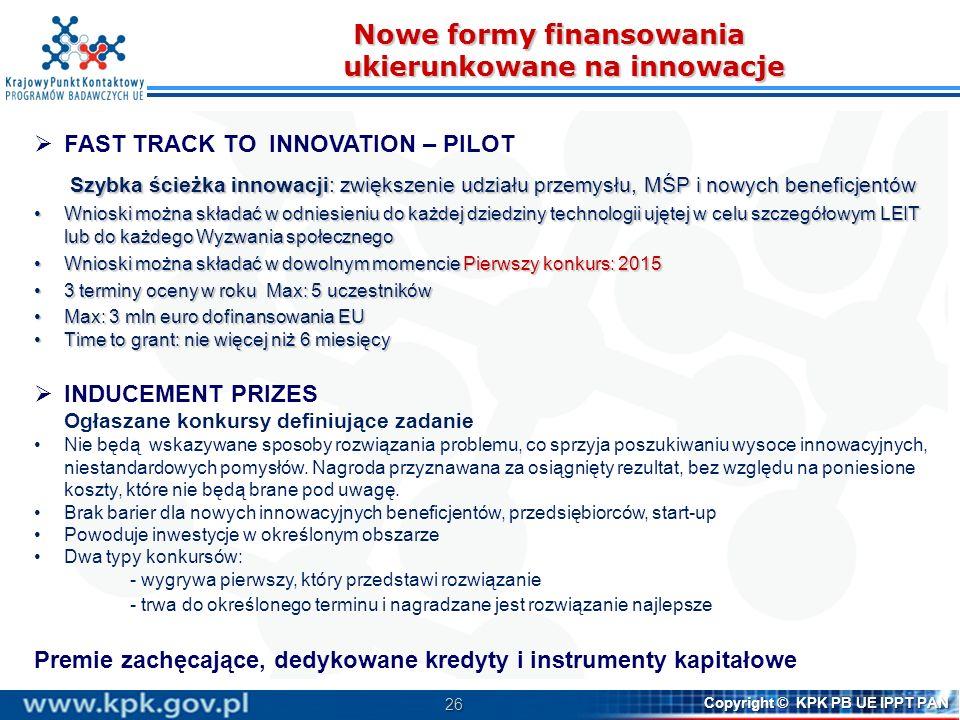 Nowe formy finansowania ukierunkowane na innowacje