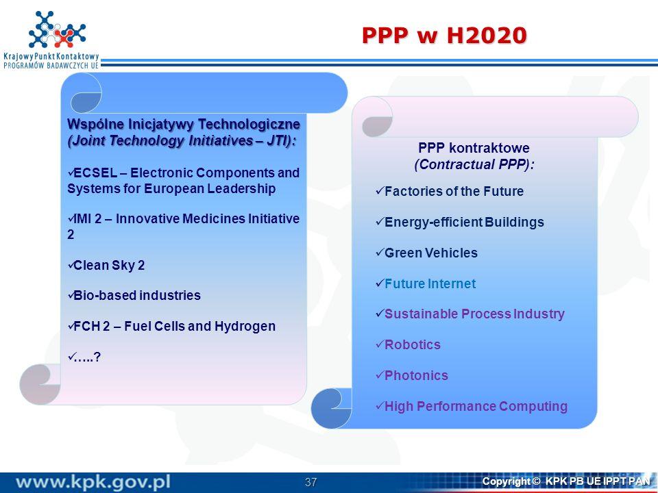 PPP w H2020 Wspólne Inicjatywy Technologiczne (Joint Technology Initiatives – JTI):