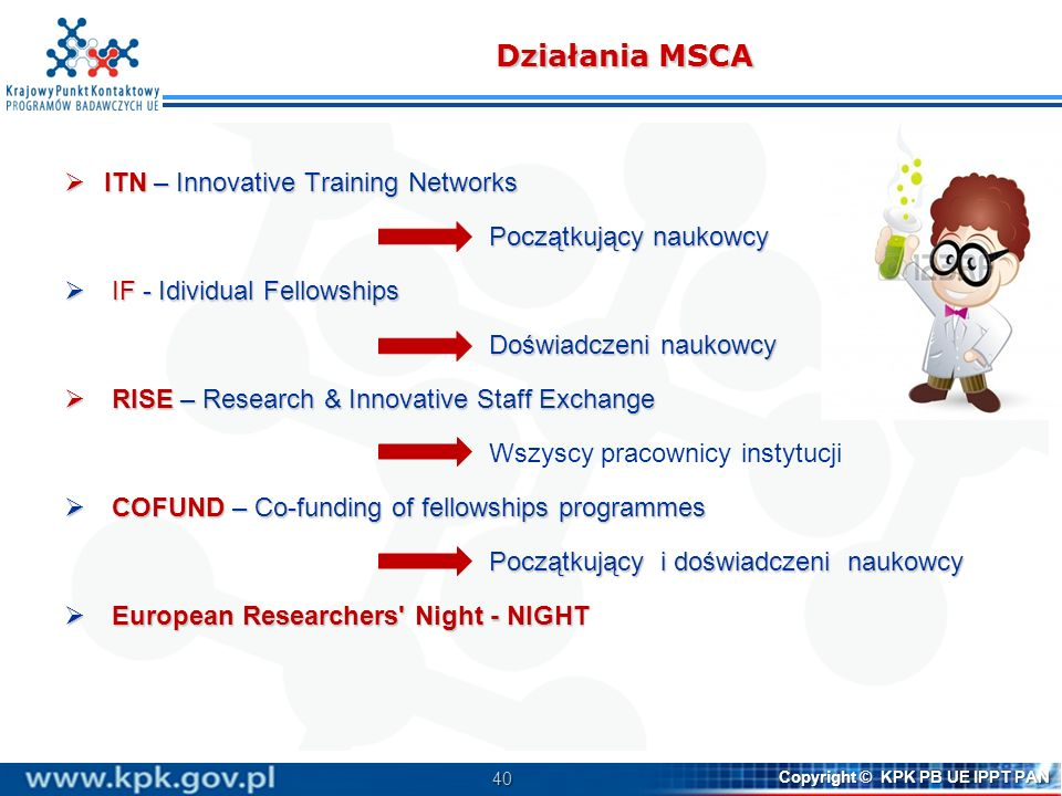 Działania MSCA ITN – Innovative Training Networks