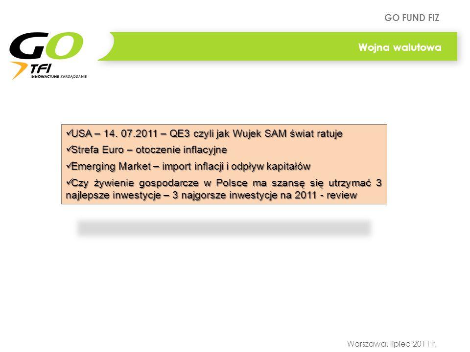 Wojna walutowa USA – 14. 07.2011 – QE3 czyli jak Wujek SAM świat ratuje. Strefa Euro – otoczenie inflacyjne.