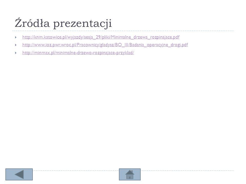 Źródła prezentacji http://knm.katowice.pl/wyjazdy/sesja_29/pliki/Minimalne_drzewa_rozpinajace.pdf.