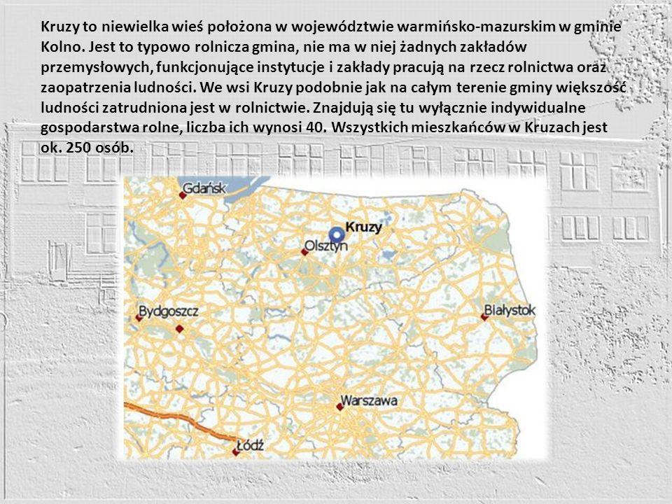 Kruzy to niewielka wieś położona w województwie warmińsko-mazurskim w gminie Kolno.