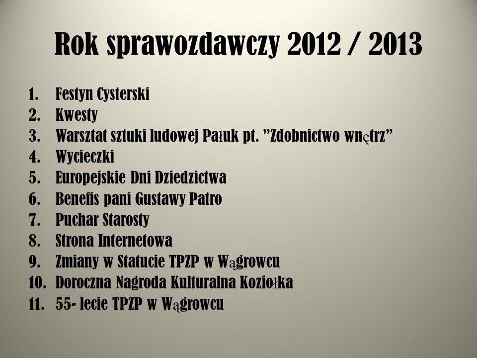 Rok sprawozdawczy 2012 / 2013 Festyn Cysterski Kwesty
