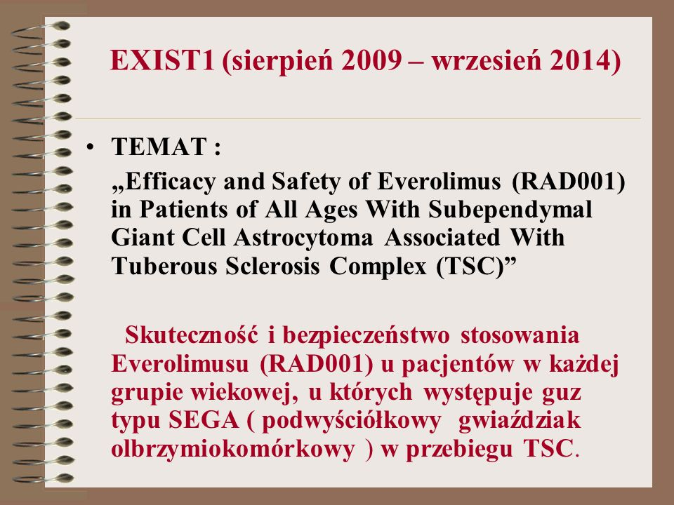 EXIST1 (sierpień 2009 – wrzesień 2014)