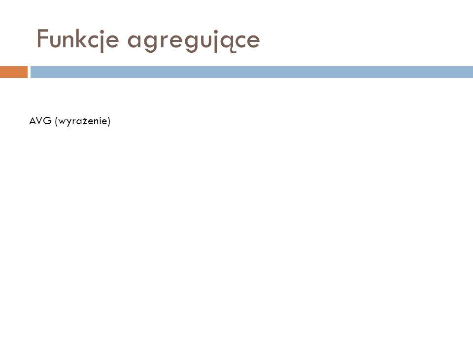 Funkcje agregujące AVG (wyrażenie)