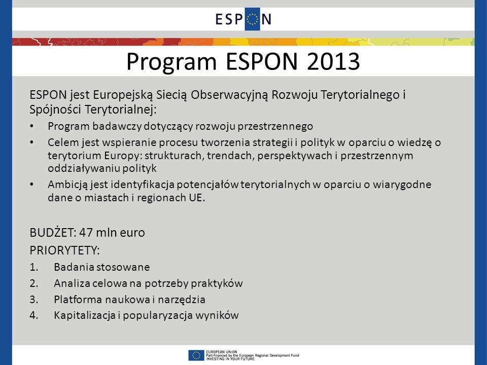 Program ESPON 2013 ESPON jest Europejską Siecią Obserwacyjną Rozwoju Terytorialnego i Spójności Terytorialnej: