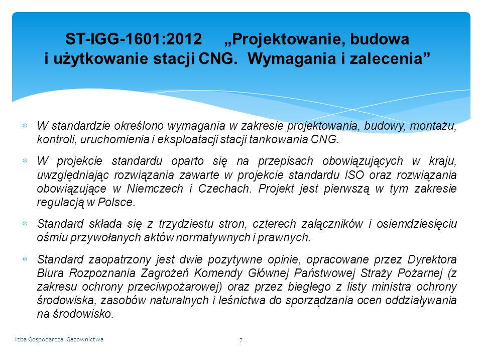 """ST-IGG-1601:2012 """"Projektowanie, budowa i użytkowanie stacji CNG"""