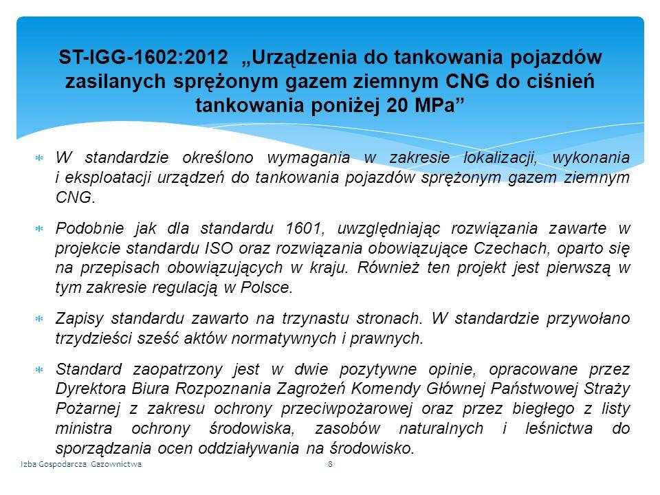 """ST-IGG-1602:2012 """"Urządzenia do tankowania pojazdów zasilanych sprężonym gazem ziemnym CNG do ciśnień tankowania poniżej 20 MPa"""