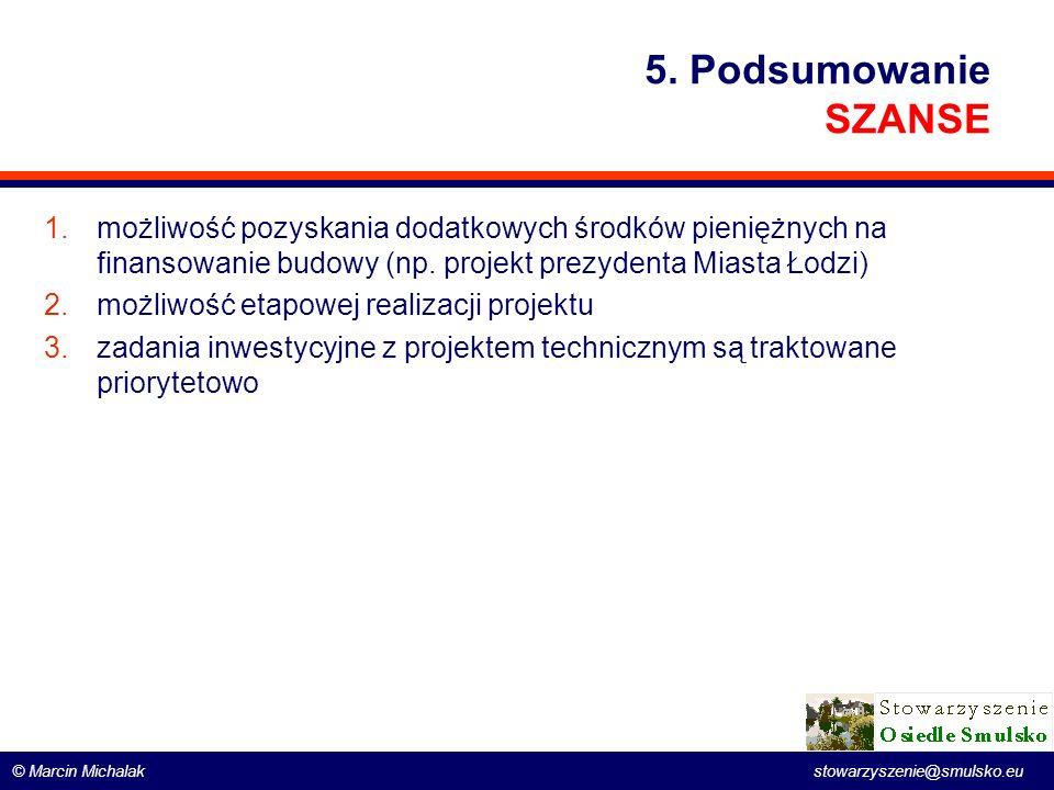 5. Podsumowanie SZANSE możliwość pozyskania dodatkowych środków pieniężnych na finansowanie budowy (np. projekt prezydenta Miasta Łodzi)