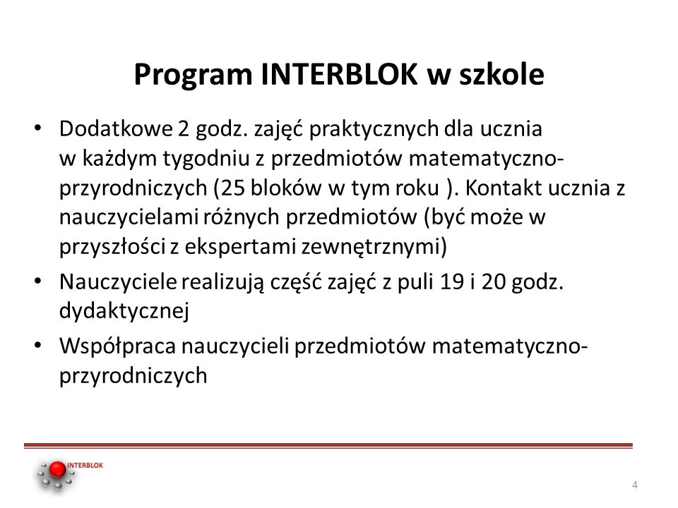 Program INTERBLOK w szkole
