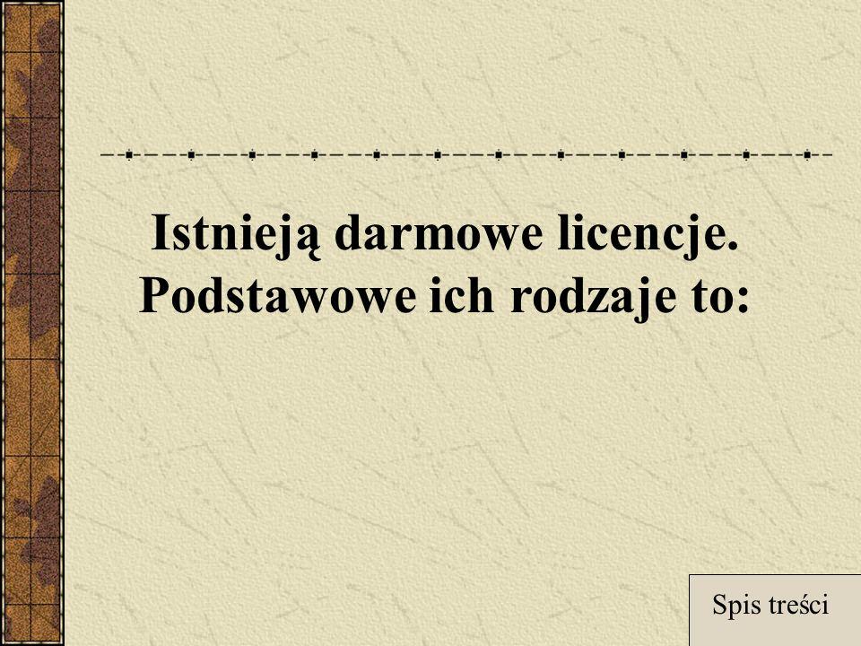 Istnieją darmowe licencje. Podstawowe ich rodzaje to: