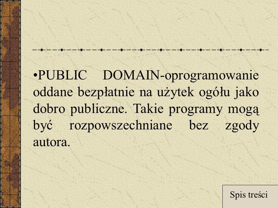 PUBLIC DOMAIN-oprogramowanie oddane bezpłatnie na użytek ogółu jako dobro publiczne. Takie programy mogą być rozpowszechniane bez zgody autora.