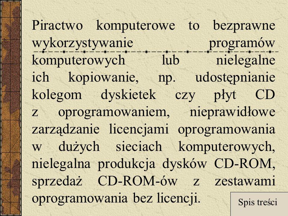Piractwo komputerowe to bezprawne wykorzystywanie programów komputerowych lub nielegalne ich kopiowanie, np. udostępnianie kolegom dyskietek czy płyt CD z oprogramowaniem, nieprawidłowe zarządzanie licencjami oprogramowania w dużych sieciach komputerowych, nielegalna produkcja dysków CD-ROM, sprzedaż CD-ROM-ów z zestawami oprogramowania bez licencji.