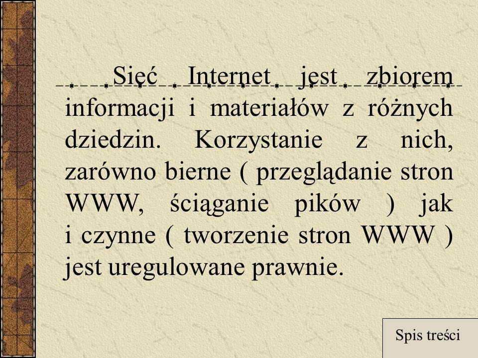 Sieć Internet jest zbiorem informacji i materiałów z różnych dziedzin