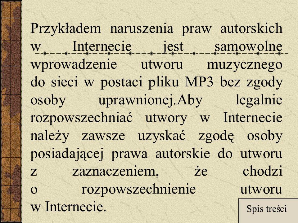 Przykładem naruszenia praw autorskich w Internecie jest samowolne wprowadzenie utworu muzycznego do sieci w postaci pliku MP3 bez zgody osoby uprawnionej.Aby legalnie rozpowszechniać utwory w Internecie należy zawsze uzyskać zgodę osoby posiadającej prawa autorskie do utworu z zaznaczeniem, że chodzi o rozpowszechnienie utworu w Internecie.