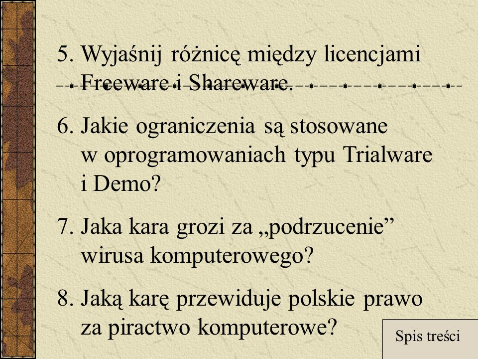 5. Wyjaśnij różnicę między licencjami Freeware i Shareware.